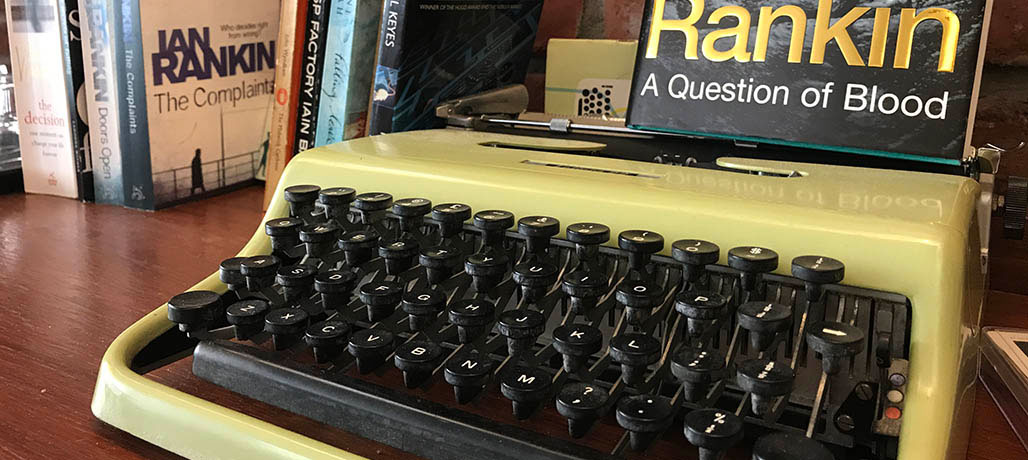 Green typewriter Ian Rankin