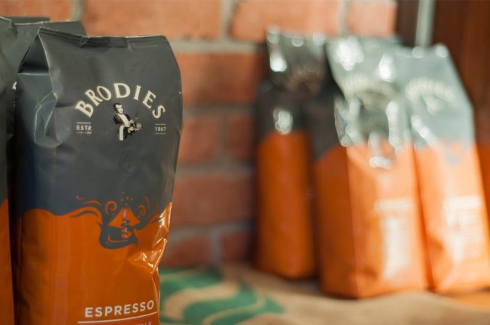 Bags of Brodies coffee beans