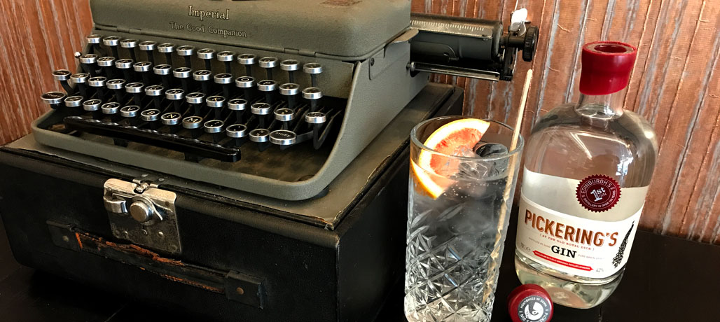 Old typewriter and Pickerings Gin